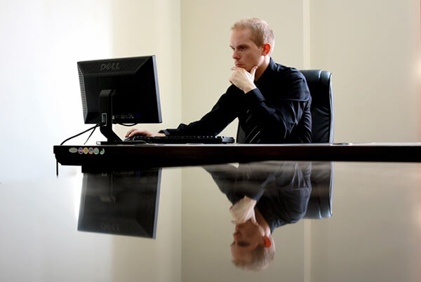 An Information Systems manager at work.