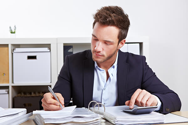 Accountant reviews financial statements.