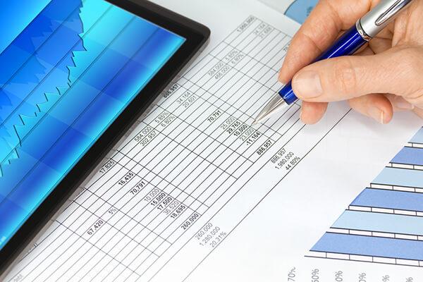 Accountant reviewing balance sheet.