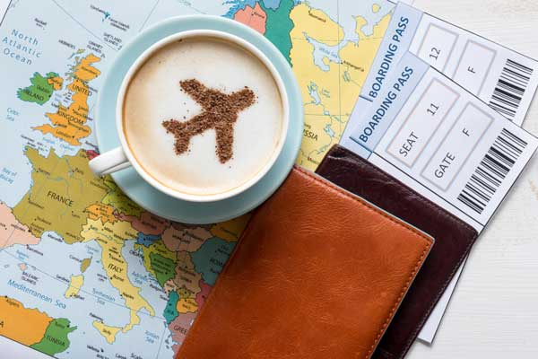 Plane tickets and coffee