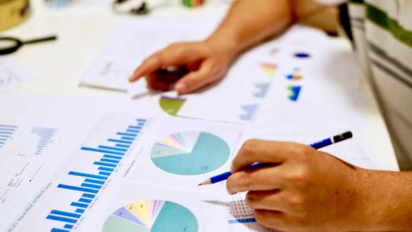 Accountant working on charts